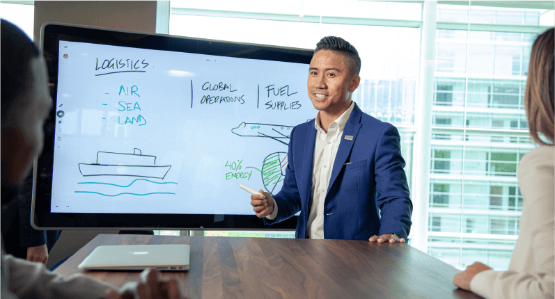 Image depicting a businessman with a stylus drawing on giant screen